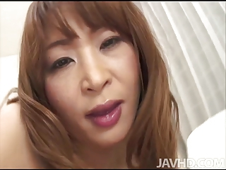 Cock hungry Hikaru Wakabayashi on her knees sucking dick