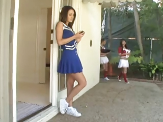 layla rose-coloured cheerleader threesome