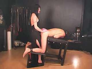 Socking mistress strap along to slave