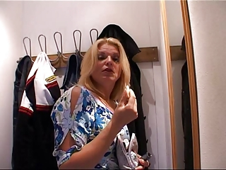 CFNM BJ German MILF on blackguardly flannel