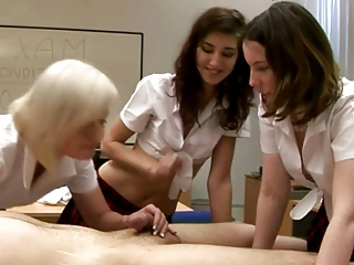 CFNM schoolgirls eager to tug dick in their class room