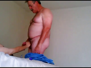 Daddy cums in her boyfriend dick