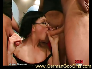 Hot brunette with glasses gets fucked
