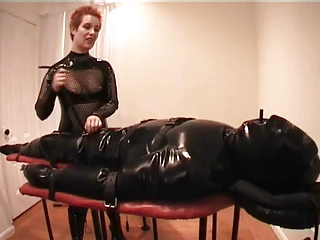 Inflatable Rubber Catsuit Bondage FemDom Mistress Alice CBT
