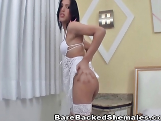 Slender Tranny Goes Gaga Over Hardcore Bareback