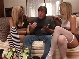 Dude with a foot fetish joined by two girls