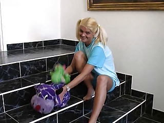 Pretty blonde girl with pigtails gets ass fucked