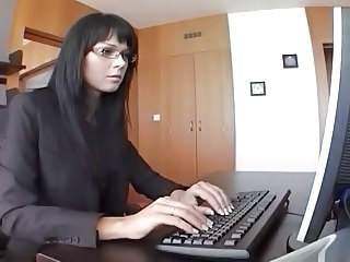 Sexy secretary in stockings fucks her boss