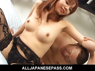 Himena Ebihara in black lingerie has her shaved pussy eaten