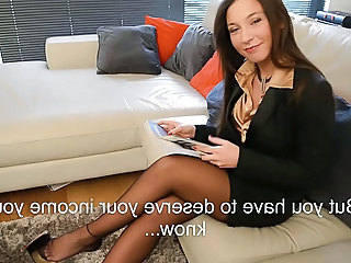 secretary boss-tease in FFnylons and louboutin high heels