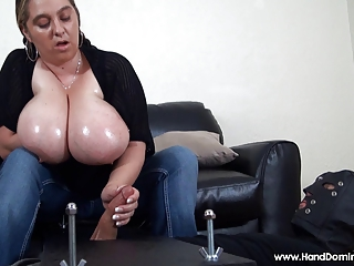 minimal handjob tease with big natural breasts
