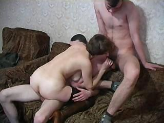 Horny housewife is sucking some strange cock in this threesome