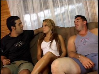 Hot chick double-penetrated on the couch