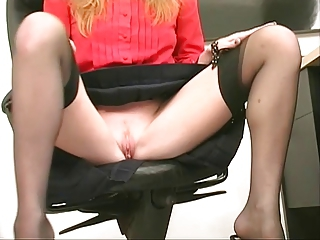 Skinny sexy blonde coworker strips and plays with a dildo at the office