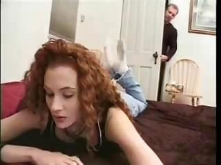 Ginger-haired roommate ends up with a meaty dick in her asshole