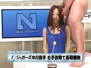 Bukkake the Japanese way with this announcer getting dicked