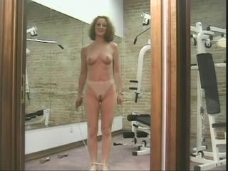 Randy gym stage with frizzy haired naked brunette