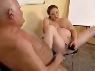 Pregnant redhead eats an old dude's cock, rides it and toys pussy