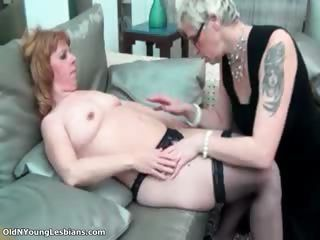 Horny lesbian with glasses is sucking part2