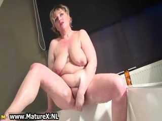 Horny busty adult mom is wanking part4