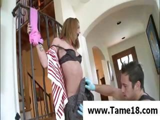 Naughty young brunette teen gets bound and banged on the stair's banister