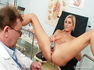 Foxy blond unshaded vagina gyn checkup