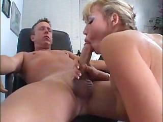 Blonde girl reports to her boss for some hot office fucking