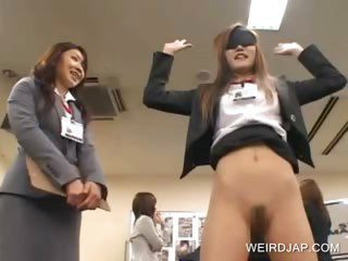 Asian beauty gets finger fucked at work