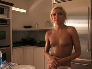 Nude in kitchen