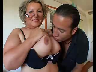 Big Tits Chubby European French Glasses Licking Mature Mom Natural Nipples Old and Young Teacher