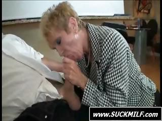 Mature Blonde And Her Old Hubby Show Young Blonde How To Suck Cock