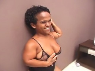 A cute mature Brazilian Lilliputian with marvellous tits, a hairy cunt coupled with a HUGE, PHAT...