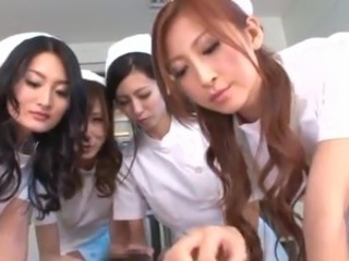 Four Asian Nurses play sex game involving Some Guy's fat joystick