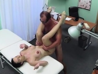 Busty skinny amateur giving blowjob and fucking doctor