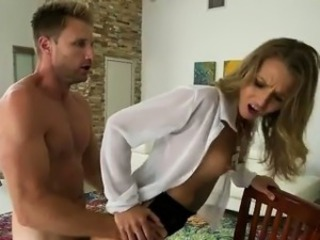 Hot Oversexed MILF Gets Finger And Fucked On Her Kitchen Table