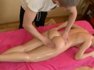 Massage session for concupiscent beautiful woman
