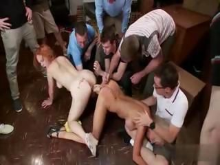 Two hot students in rough gangbang part.1
