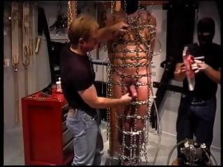 Suspended and bound in chains this stud gets balls squeezed by vise in orgy of real CBT players.