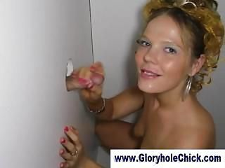 Slut sucks strangers at gloryhole