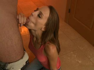Skinny redhead Rachel give a blow