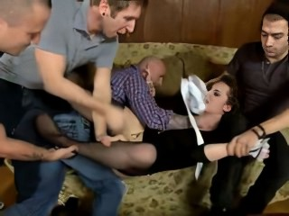 Dual fucking And mouth shafting inside gang bang For va...