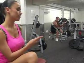 Fuck in the gym. Horny french girl like train het pussy
