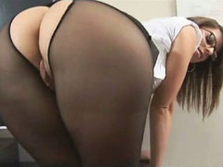 Office legs footjob with nylon