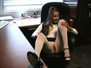 Pantyhose MILF stripping at the workplace