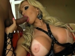 Huge boobs mature tranny anal pounded with big cock