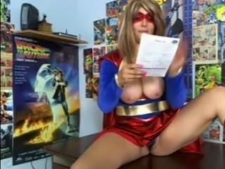 Amateur superhero rubs her pussy to a powerful orgasm