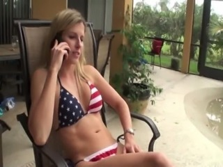 Blonde babe cheating while on the phone with boyfriend free