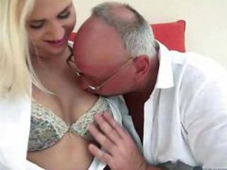 Grandpa fucks his young blonde girlfriend