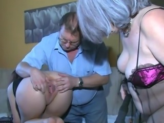 OldNanny Crestfallen young Explicit playing in all directions aged man and his aged broad in the beam mature