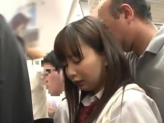 Japanese nymph inside School Uniform has shaged inside the Subway Train